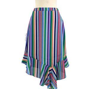 A New Day- Multi Stripe Asymmetrical Skirt Size M